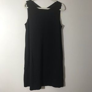 Eileen Fisher black sleeveless lined dress medium